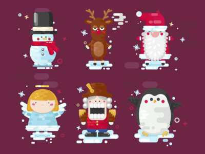 Christmas cute characters icons