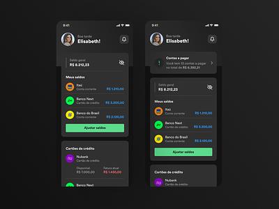 Organizze - New Dashboard - Dark Mode organizze expense tracker finance dark finance dark mode dashboard ux finance application finance dashboard dashboard ui app finance app app dark mode