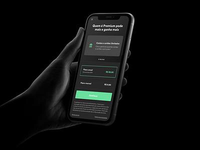 Organizze - Dark Mode Subscription Screen Exploration dark mode subscription ux uiux ui finance dark mode financial dark mode finance sell subscription dark mode