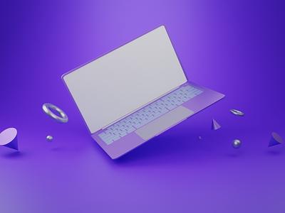 Laptop 3D Mockup Blender blander typography vector logo ux ui sis illustration animation branding design