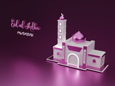 Mosque 3D Eid al Adha typography logo vector ui sis ux animation illustration branding design