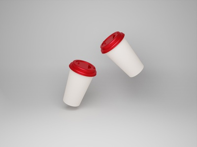 Paper Cup Model Design mocha disposable cafe blank container recycling blendar 3d red paper cup