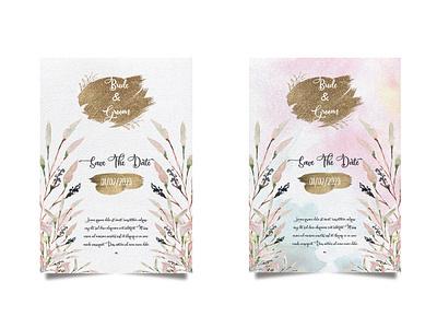 Wedding invitation and menu template water color handmade. wedding watercolor romantic greeting elegant border nature decoration illustration rose invitation flower