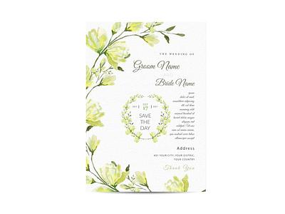 Wedding invitation and menu template water color handmade. rose romantic greeting elegant summer nature leaf flower decoration illustration wedding invitation
