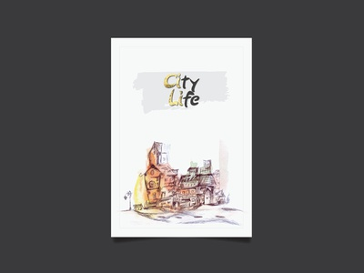 watercolor handmade City Life. composition classroom artistic artist red vintage subway illustration abstract paint art watercolor