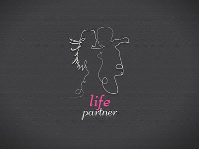 Life Partner One line logo simple drawing sketch silhouette outline minimalism graphic contour vector logo design one line logoillustration