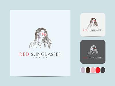 Beauty red sunglasses minimal line art logo. logotype business badge emblem outline hipster vector icon design illustration art label
