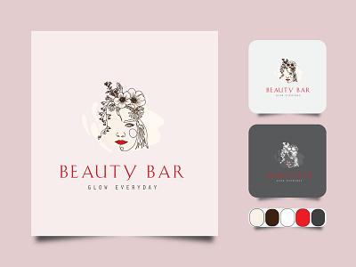 Beauty BAR minimal line art logo. creative business outline vector icon design illustration art label line art logo color