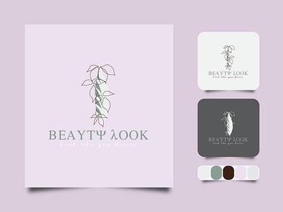 Beauty Look Line art minimal logo. creative business outline vector icon design illustration art label line art logo color