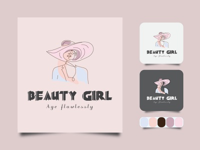 Beauty Girl Line art Minimal logo. logotype business badge emblem outline hipster vector icon design illustration art label
