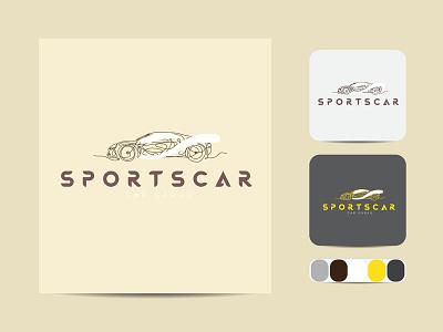 Minimal car line art logo Design logotype business badge emblem outline hipster vector icon design illustration art label