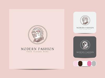 Minimal Beauty line art logo creative business outline vector icon design illustration art label line art logo color