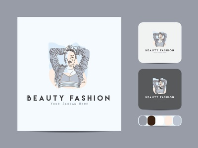 Beauty salon minimal line art logo. creative business outline vector icon design illustration art label line art logo color