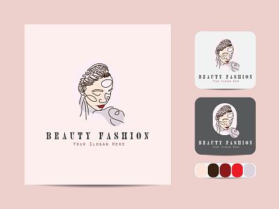 Beauty minimal line art logo. creative business outline vector icon design illustration art label line art logo color