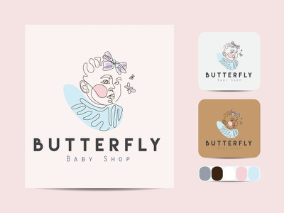Baby line art logo creative business outline vector icon design illustration art label line art logo color