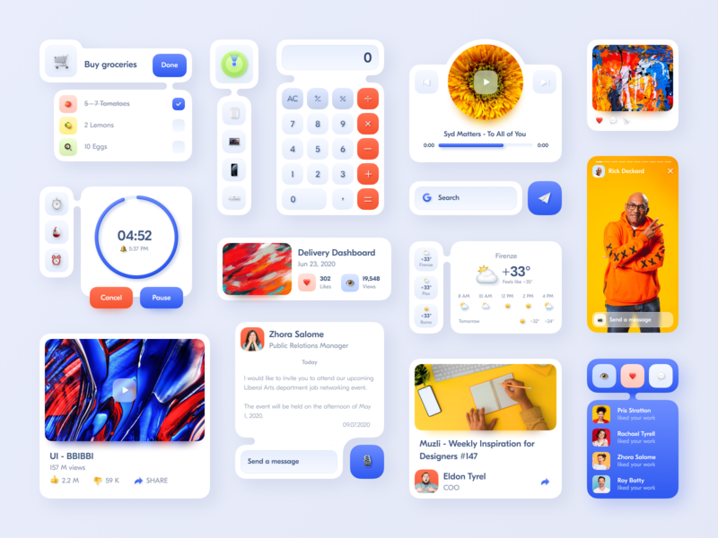 App Widgets Concept components design system uikit bright color design clean minimal typography ux ui app mobile concept ios14 widget