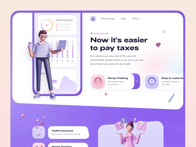 Landing Page for Taxes App ✨ branding design minimal concept ios taxes typography clean colorful 3d landing page web design ux ui video animation web