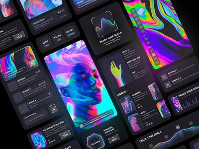 Braindance Courses || Cyberpunk bright colors dark theme color product design design widget vr augmented reality mobile futurism neon glassmorphism visual design concept ui courses cyberpunk