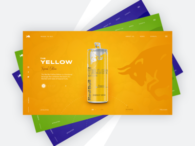 Red Bull webdesign website redbull web yellow bright color uxui sketch concept color dribbble clean minimal web design ui ux