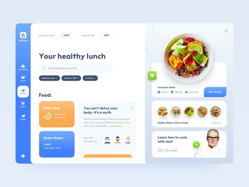 Healthy food app dashboard design mobile apps cooking branding typography food clean health vector flat website web design web ui design ui  ux ux ui app