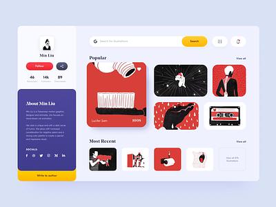 Illustrations store concept profile store product design concept website typography dashboard minimal flat web design web ux ui vector illustration clean branding app animation