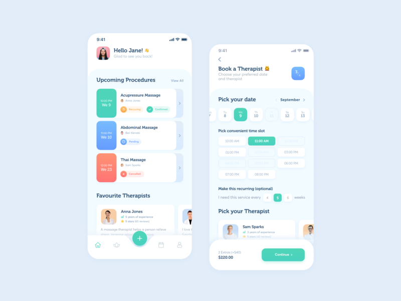 Spa app green app design ui design spa health concept black lead product design flat minimal ios typography bright color branding vector ux ui application app mobile