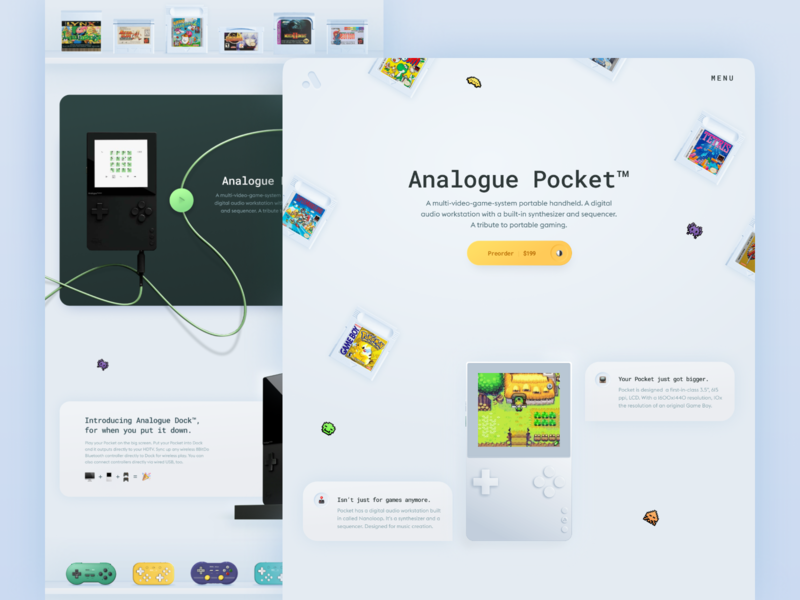 Analogue Pocket landing bright color minimal interaction design branding typography concept product design landing games skeumorphism uidesign uxui ux ui web web design