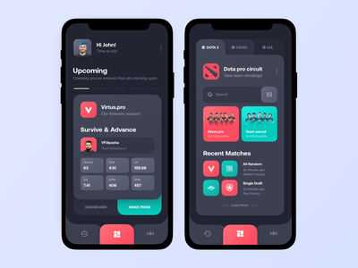 Cybersport bets app app vector minimal concept product design typography dark theme clean dashboard gaming sport betting ux ui mobile application