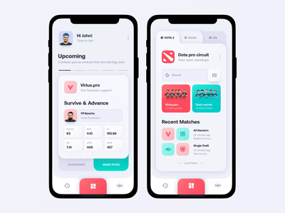 Cybersport bets app light theme bright color typography vector sport product design gaming dashboard minimal concept clean betting mobile ux ui animation light theme
