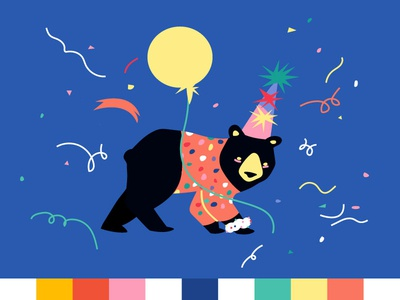 Party Bear celebration vector artist illustrator birthday party bear party animal adobe illustrator digital vector illustration