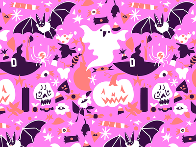 trick or treat surface design pattern october holiday witch bat skull digital adobe illustrator halloween design living coral candy ghost vector illustration halloween