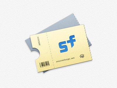 Sourceforge Ticket Icon icon sourceforge blue yellow grey ticket