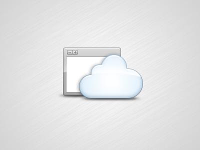 Web App Icon grey blue icon cloud