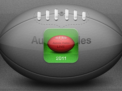 AFL Aussie Rules LIVE 2011 Icon icon iphone football green ios ipad leather 114px red sport