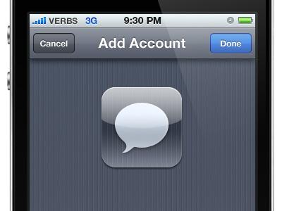Verbs - IM with Cloud App integration im ios iphone cloud app blue grey icon interface