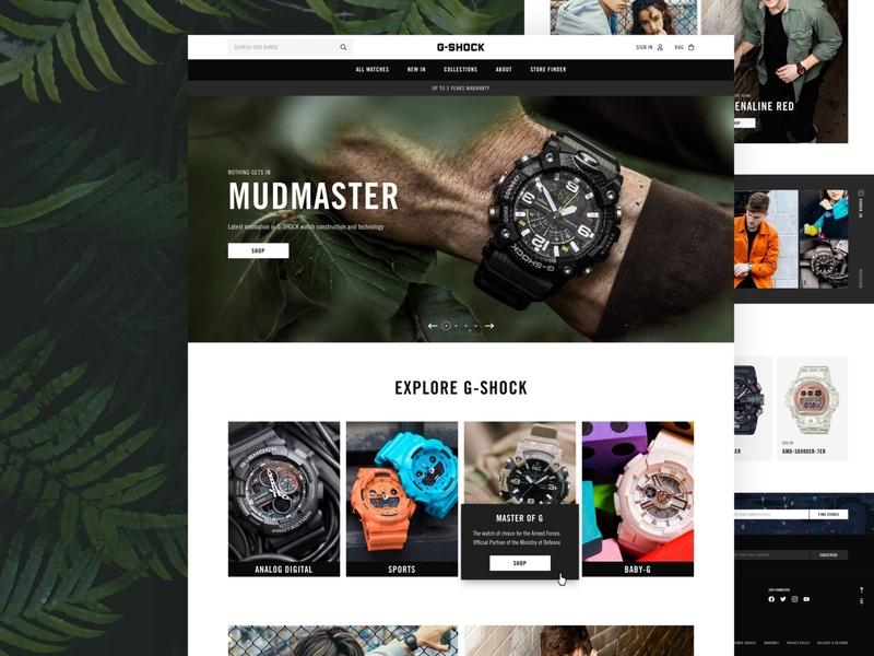 G-Shock responsive mobile design landing page e-commerce home page website design shop magento ecommerce ux ui