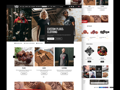 Custom Plugs ecommerce magento ui website design user interface landing page home page plugs ux adelle sans din condensed shop
