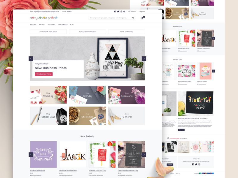 Dotty About Paper responsive mobile shop karla ux home page landing page user interface website design ui magento ecommerce