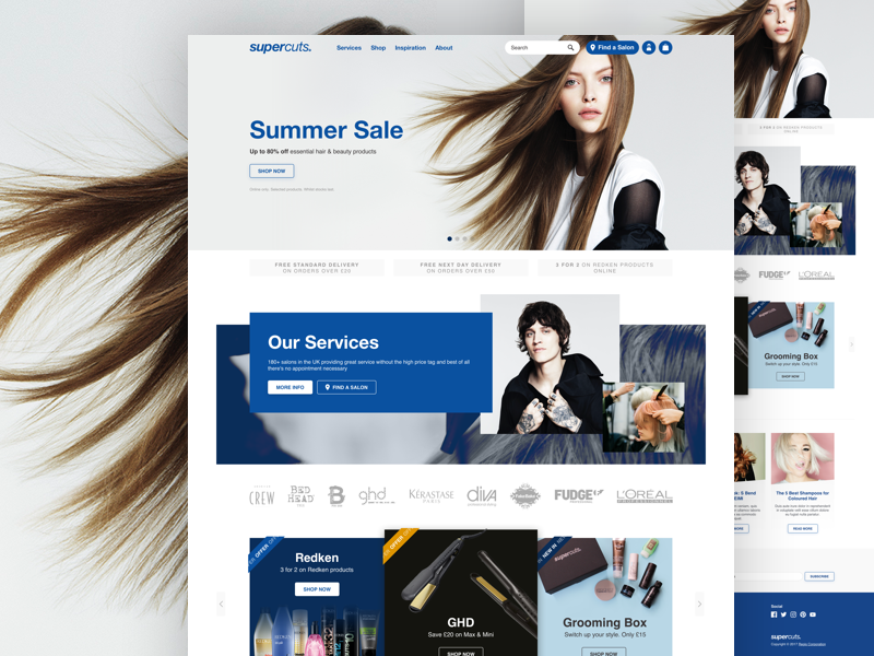 Supercuts ecommerce magento ui website design user interface landing page home page ux helvetica shop mobile responsive