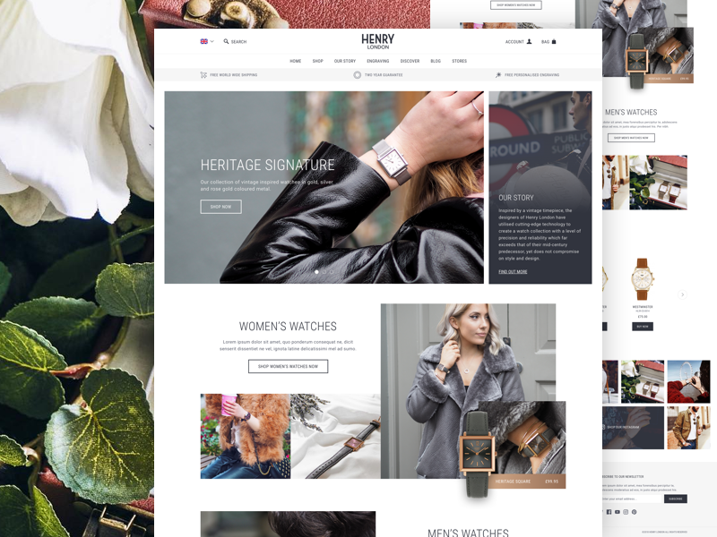 Henry London responsive mobile shop roboto ux home page landing page user interface website design ui magento ecommerce