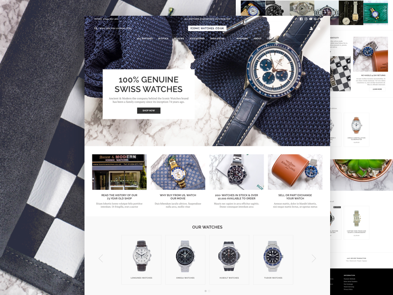 Iconic Watches ecommerce magento ui website design user interface landing page home page ux brandon grotesque shop mobile responsive
