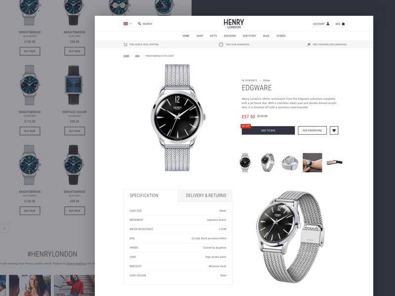 Henry London - Product Detail Page product page pdp ecommerce magento ui website design user interface ux roboto shop mobile responsive