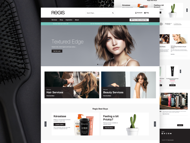 Regis landing page home page website design user interface shop magento ecommerce ux ui