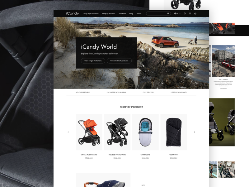 iCandy pushchair europa landing page home page website design user interface shop magento ecommerce ux ui
