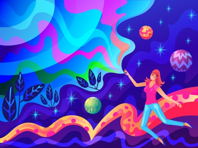 Floating in Vector Dreamland self-portrait pink blue purple dreamy outer space surreal illustrator for ipad adobe illustrator vector portrait illustrator illustration ipad pro digital illustration