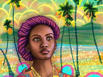 Portrait of a Girl, Summer digital painting ipad pro digital illustration face seasonal summer landscape female woman girl procreate portrait