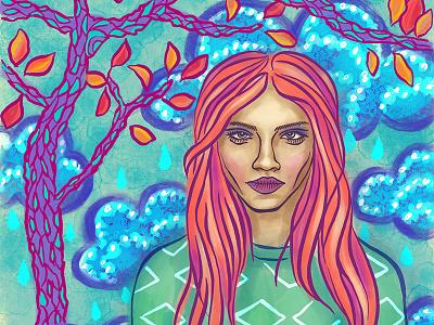 Portrait of a Girl, Autumn digital painting ipad pro digital illustration face seasonal summer landscape female woman girl procreate portrait