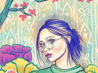 Girl Portrait   Blue Hair Dribbble digital painting ipad pro digital illustration face seasonal summer landscape female woman girl procreate portrait