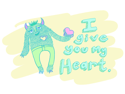 I Give You My Heart pastel cute love heart character creature
