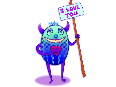 My little guy. pastel cute love heart character creature monster illustration illustrator